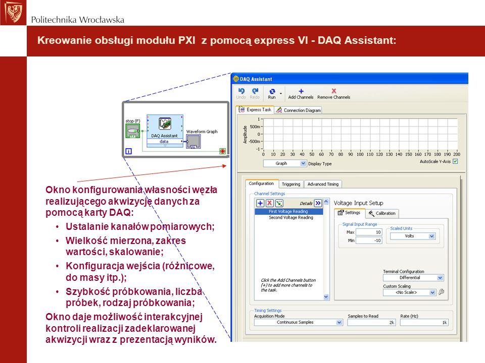 Kreowanie obsługi modułu PXI z pomocą express VI - DAQ Assistant: