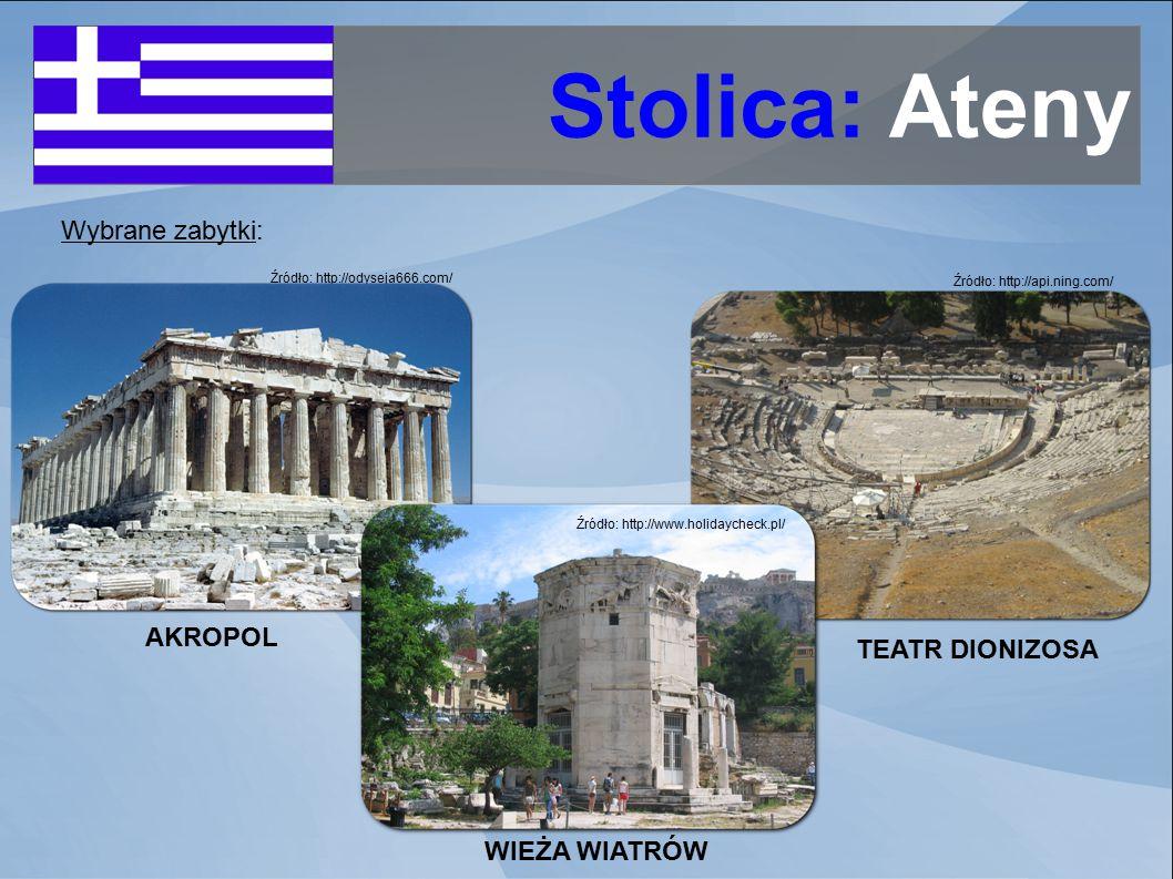 Stolica: Ateny Wybrane zabytki: AKROPOL TEATR DIONIZOSA WIEŻA WIATRÓW