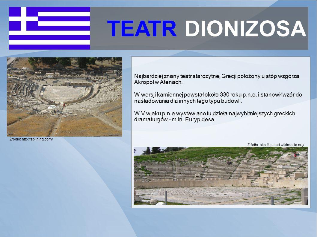 TEATR DIONIZOSA Najbardziej znany teatr starożytnej Grecji położony u stóp wzgórza Akropol w Atenach.
