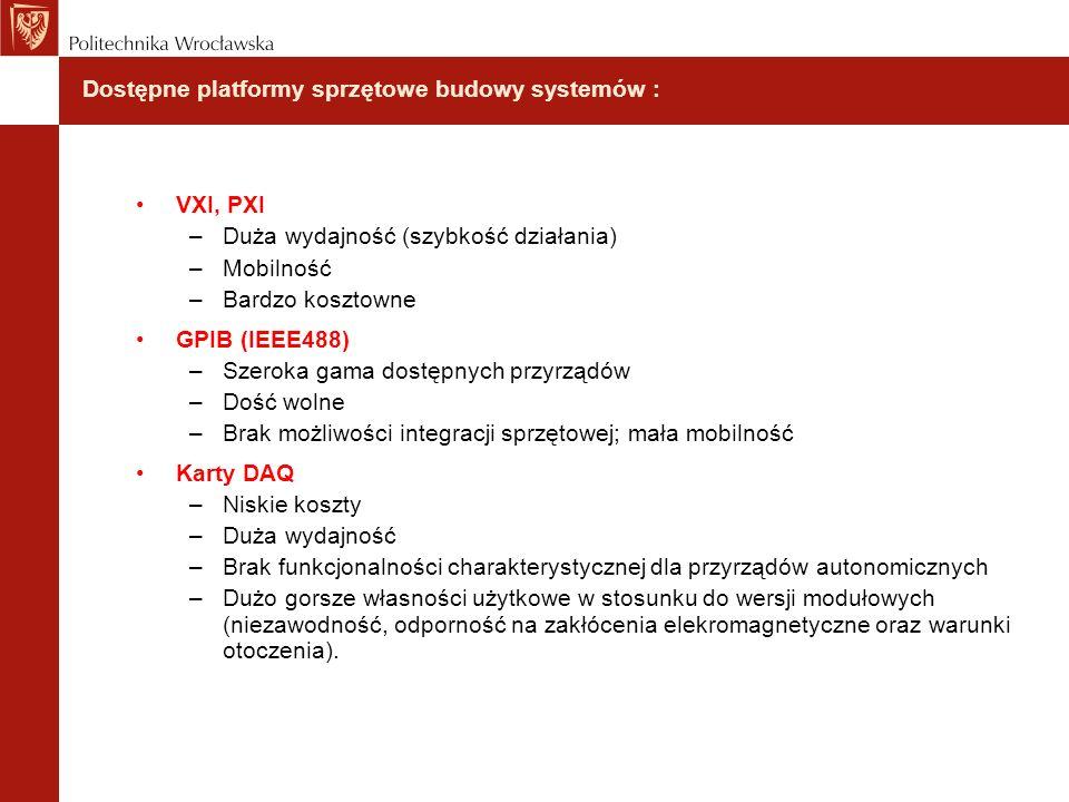 Dostępne platformy sprzętowe budowy systemów :