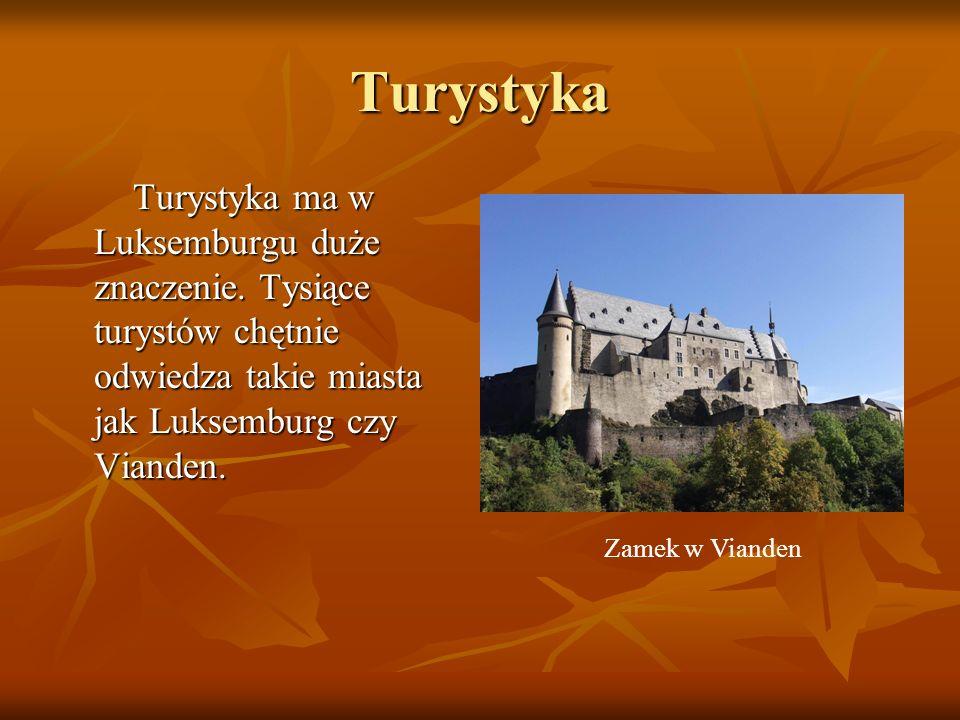 Turystyka Turystyka ma w Luksemburgu duże znaczenie. Tysiące turystów chętnie odwiedza takie miasta jak Luksemburg czy Vianden.