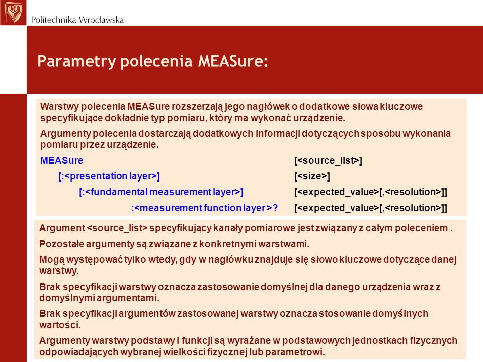 Parametry polecenia MEASure: