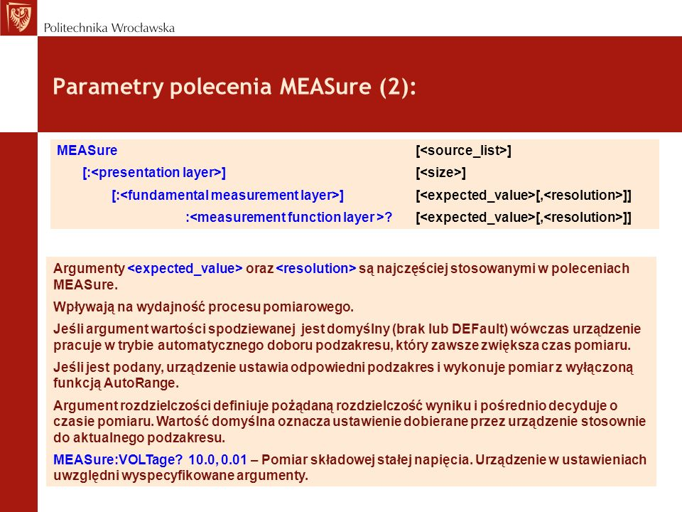 Parametry polecenia MEASure (2):