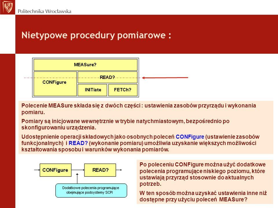 Nietypowe procedury pomiarowe :