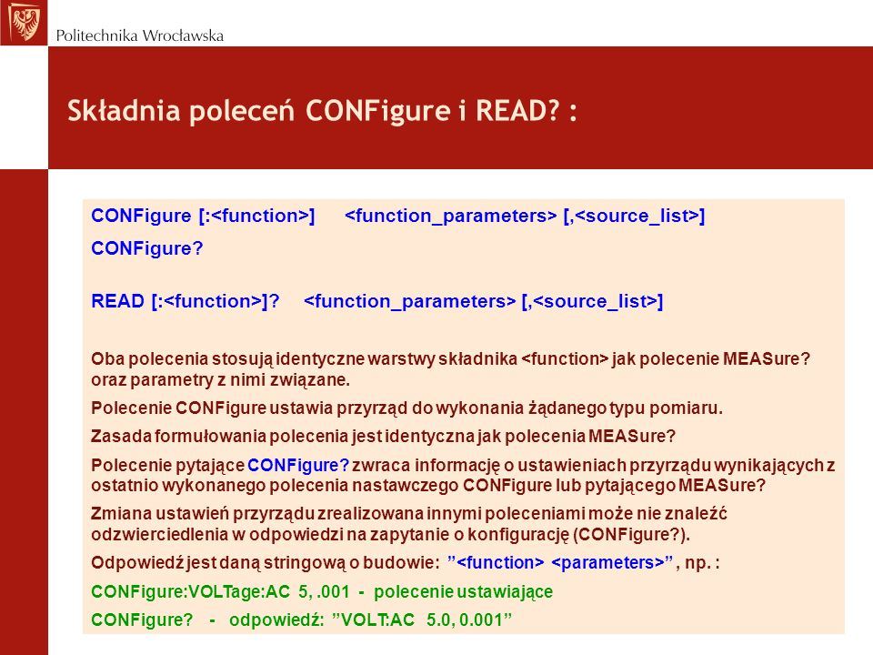 Składnia poleceń CONFigure i READ :