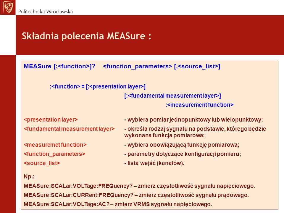 Składnia polecenia MEASure :