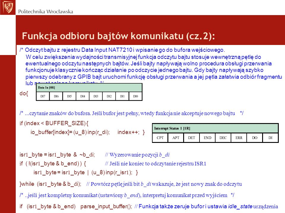 Funkcja odbioru bajtów komunikatu (cz.2):
