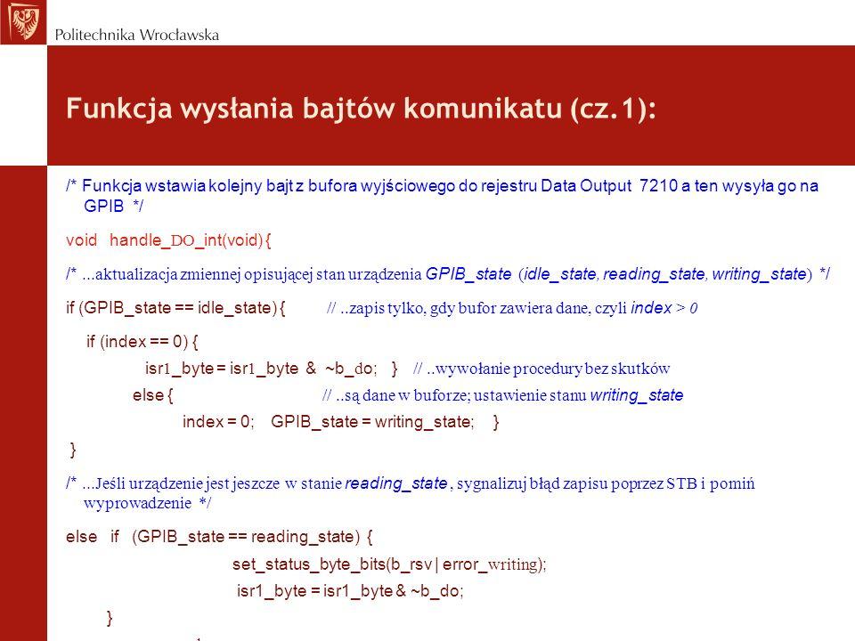 Funkcja wysłania bajtów komunikatu (cz.1):