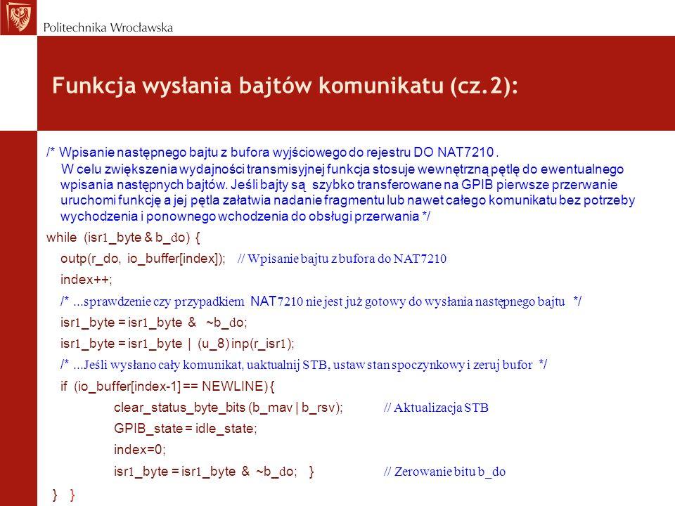 Funkcja wysłania bajtów komunikatu (cz.2):