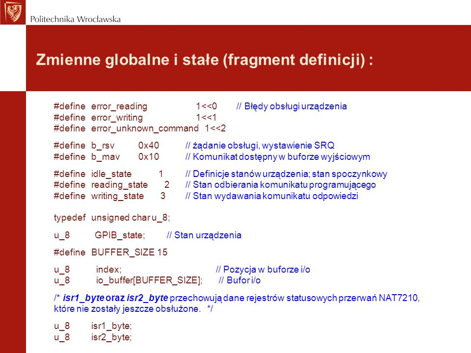 Zmienne globalne i stałe (fragment definicji) :