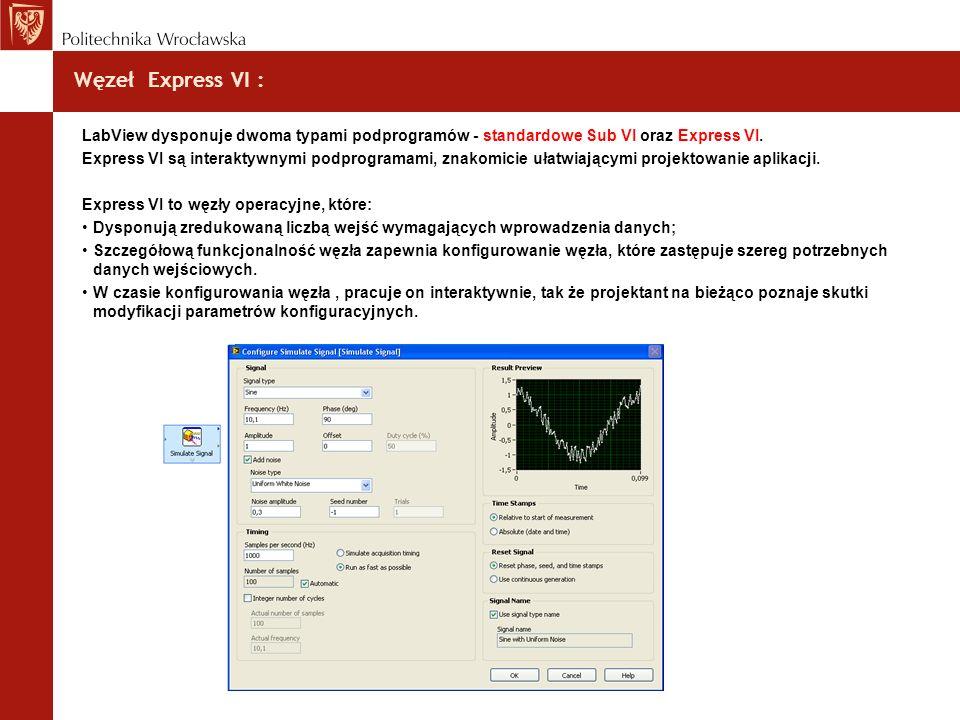 Węzeł Express VI : LabView dysponuje dwoma typami podprogramów - standardowe Sub VI oraz Express VI.