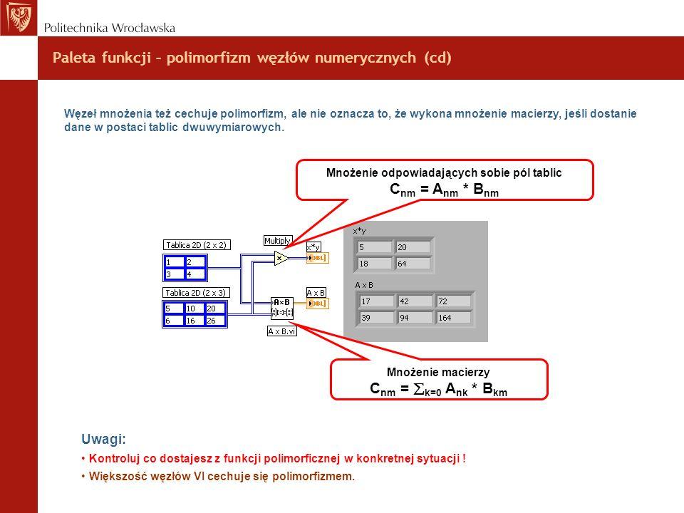 Paleta funkcji – polimorfizm węzłów numerycznych (cd)