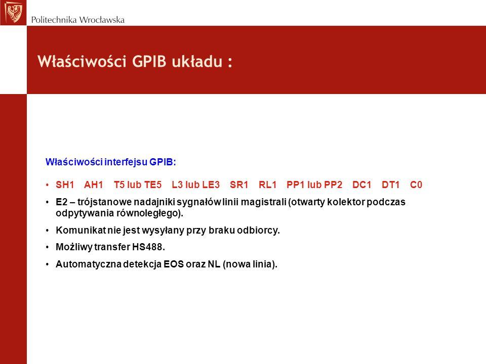 Właściwości GPIB układu :