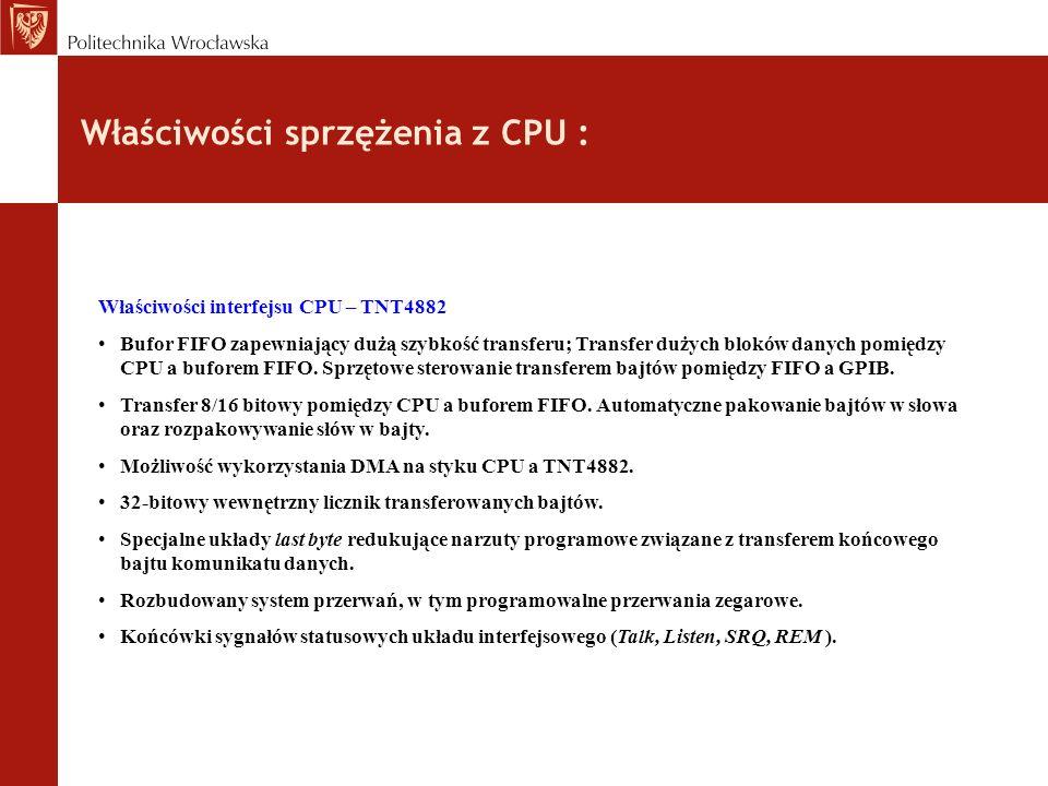 Właściwości sprzężenia z CPU :