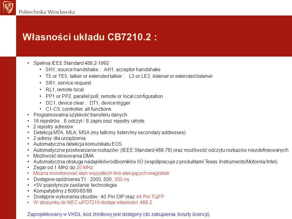 Własności układu CB7210.2 : Spełnia IEEE Standard 488.2-1992 :