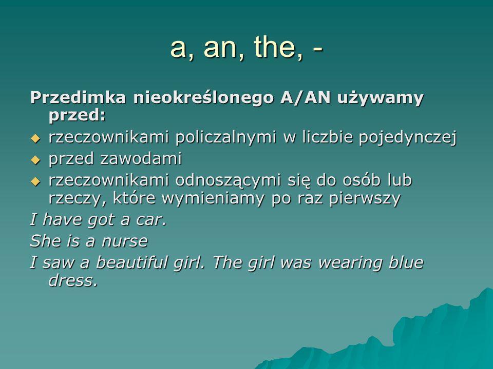 a, an, the, - Przedimka nieokreślonego A/AN używamy przed: