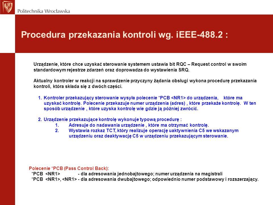 Procedura przekazania kontroli wg. iEEE-488.2 :