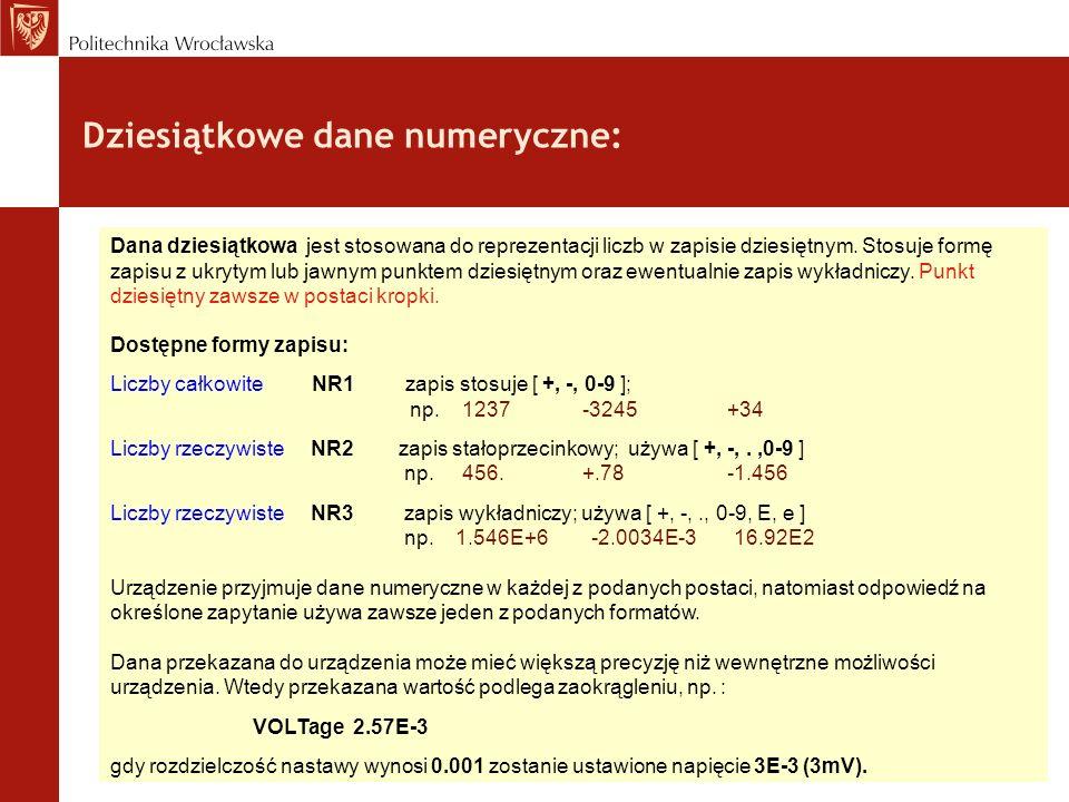 Dziesiątkowe dane numeryczne: