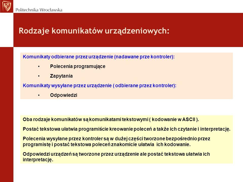 Rodzaje komunikatów urządzeniowych: