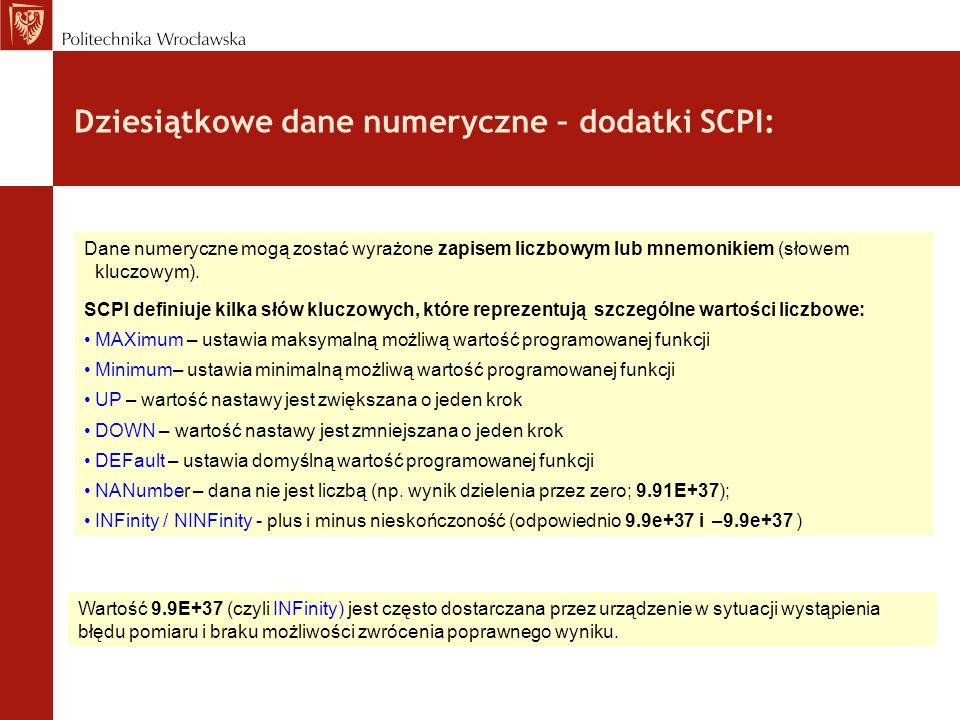 Dziesiątkowe dane numeryczne – dodatki SCPI: