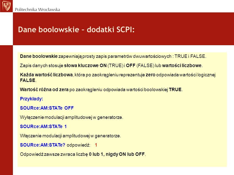 Dane boolowskie – dodatki SCPI: