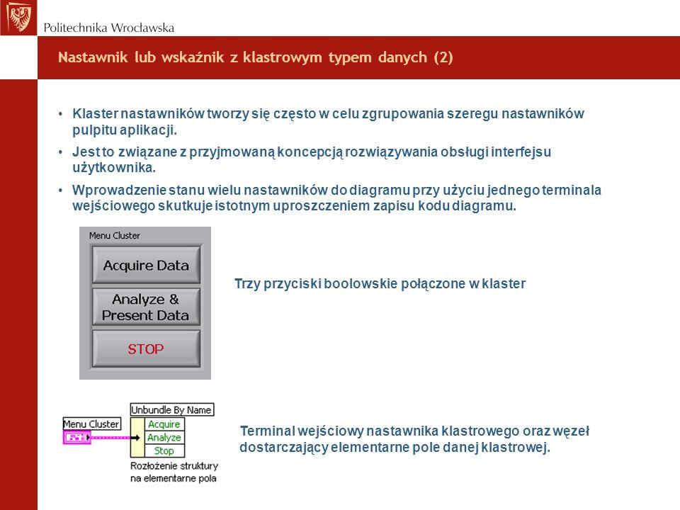 Nastawnik lub wskaźnik z klastrowym typem danych (2)