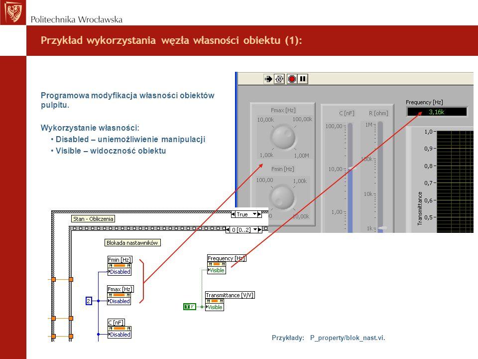 Przykład wykorzystania węzła własności obiektu (1):