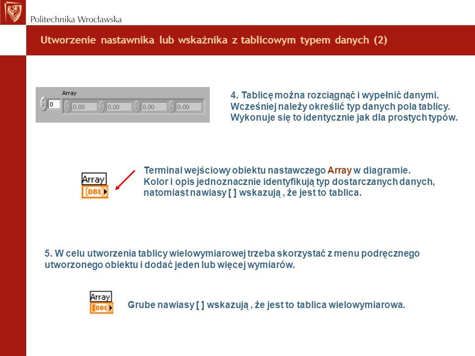 Utworzenie nastawnika lub wskaźnika z tablicowym typem danych (2)