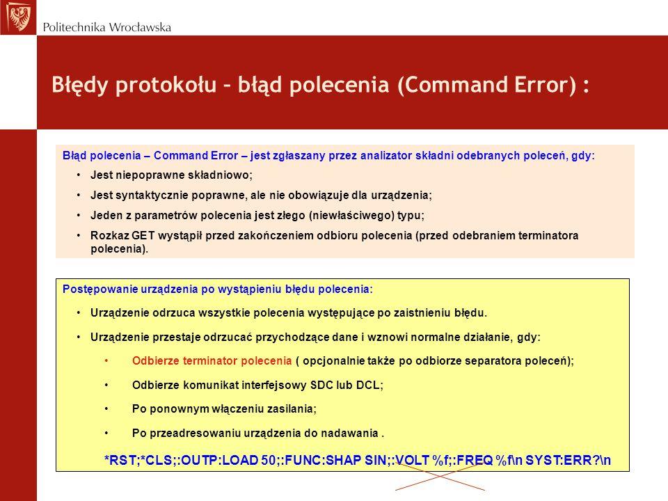 Błędy protokołu – błąd polecenia (Command Error) :
