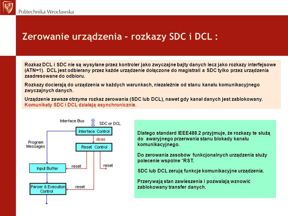 Zerowanie urządzenia - rozkazy SDC i DCL :