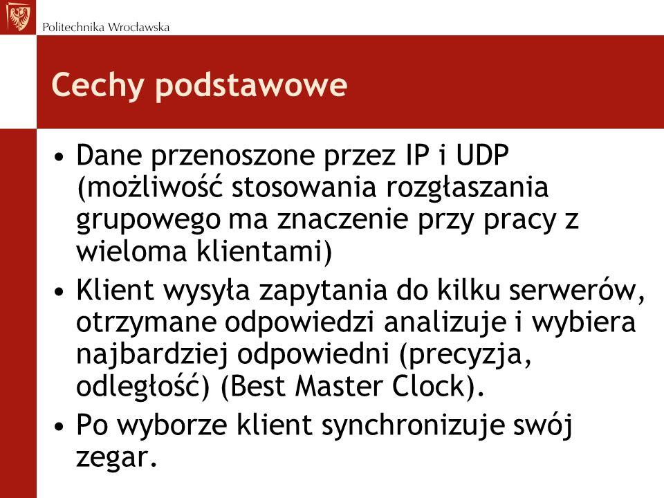 Cechy podstawowe Dane przenoszone przez IP i UDP (możliwość stosowania rozgłaszania grupowego ma znaczenie przy pracy z wieloma klientami)