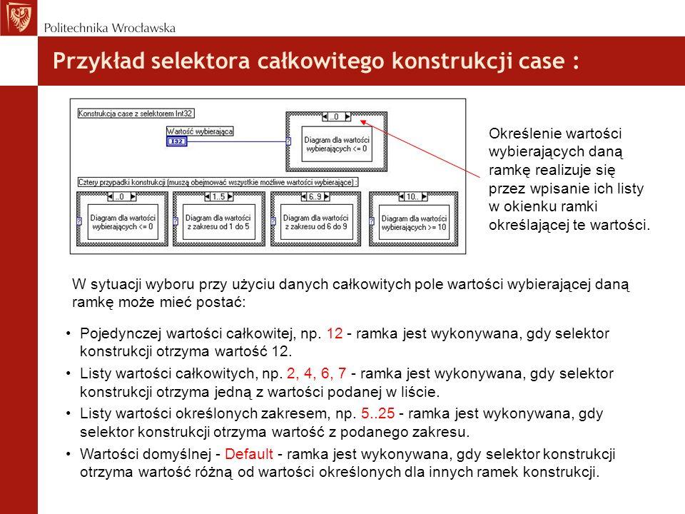 Przykład selektora całkowitego konstrukcji case :