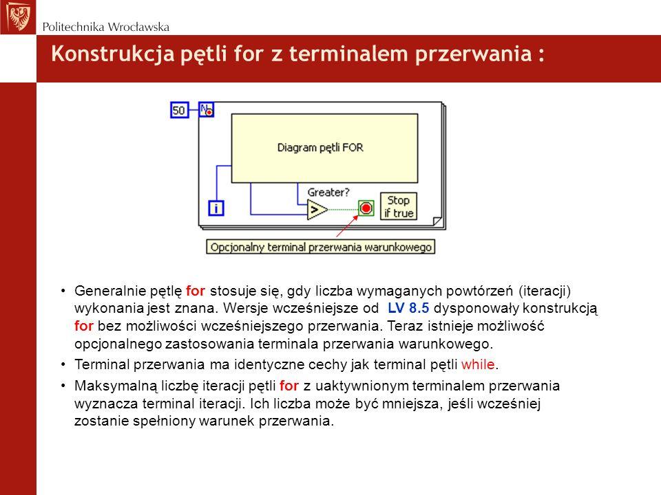 Konstrukcja pętli for z terminalem przerwania :