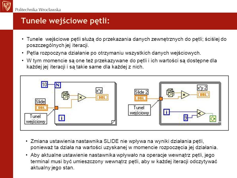 Tunele wejściowe pętli:
