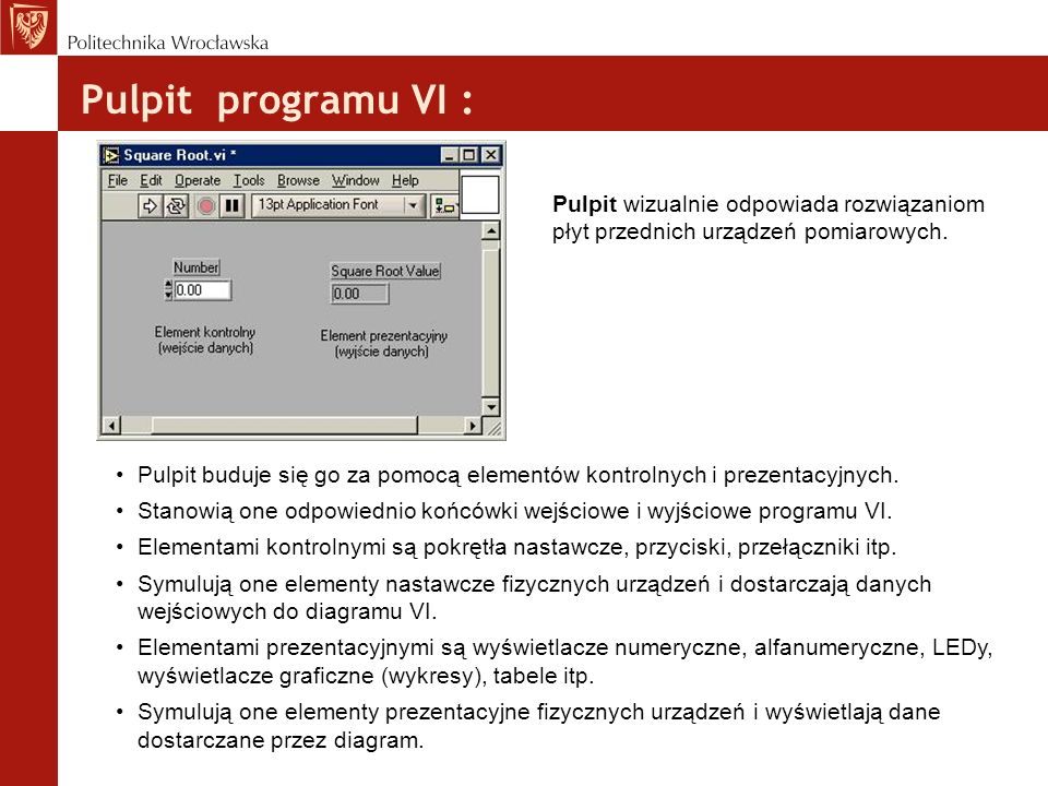 Pulpit programu VI :Pulpit wizualnie odpowiada rozwiązaniom płyt przednich urządzeń pomiarowych.