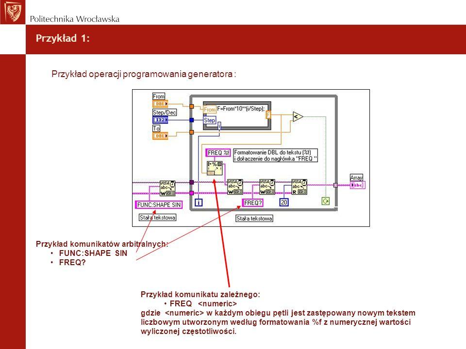 Przykład 1: Przykład operacji programowania generatora :