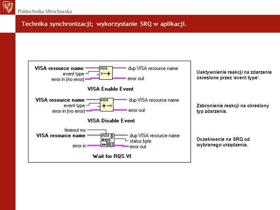 Technika synchronizacji; wykorzystanie SRQ w aplikacji.