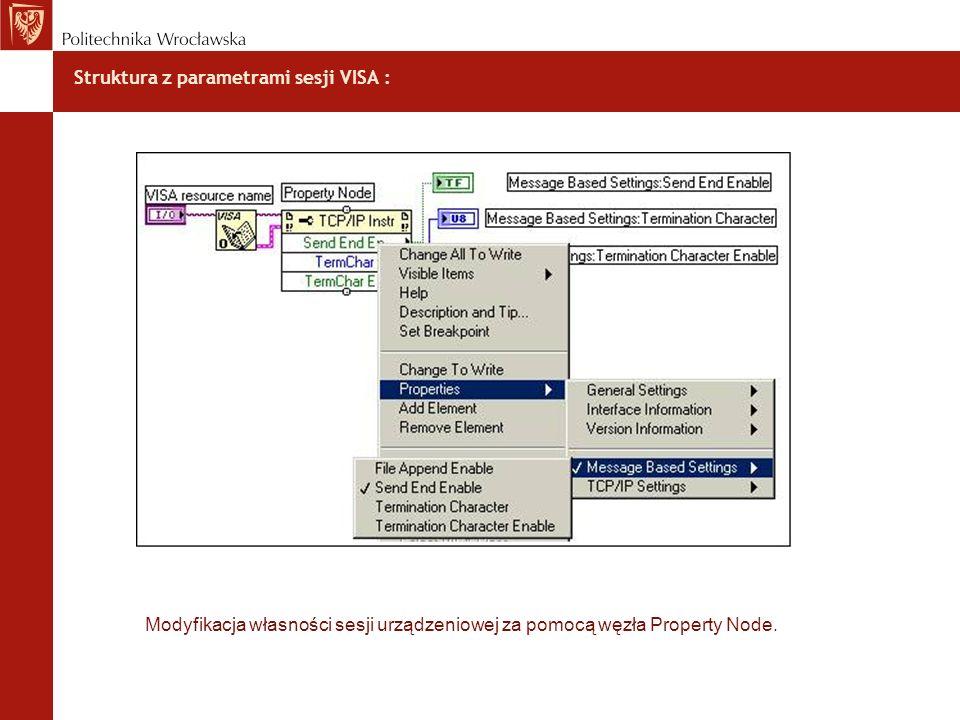 Struktura z parametrami sesji VISA :
