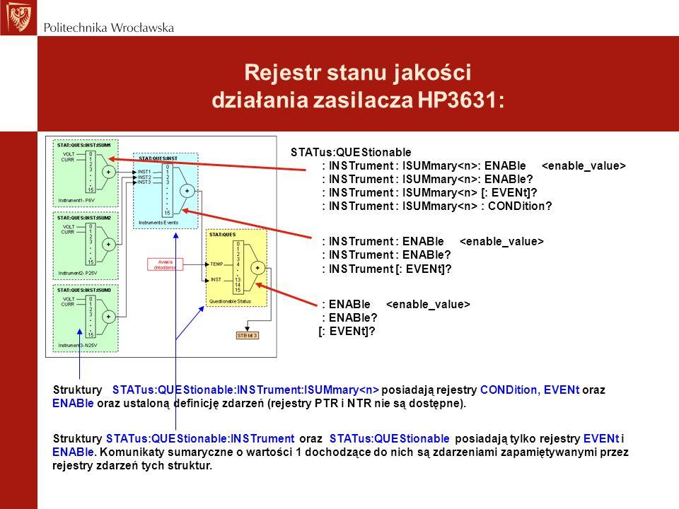 Rejestr stanu jakości działania zasilacza HP3631: