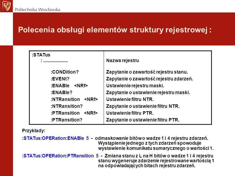 Polecenia obsługi elementów struktury rejestrowej :