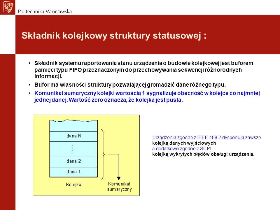 Składnik kolejkowy struktury statusowej :