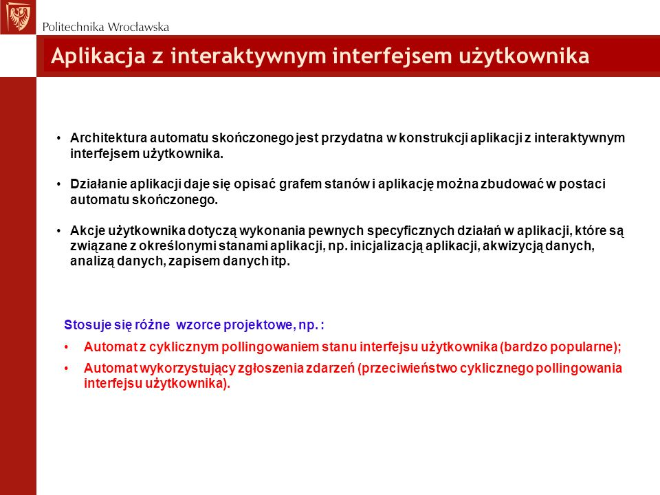 Aplikacja z interaktywnym interfejsem użytkownika