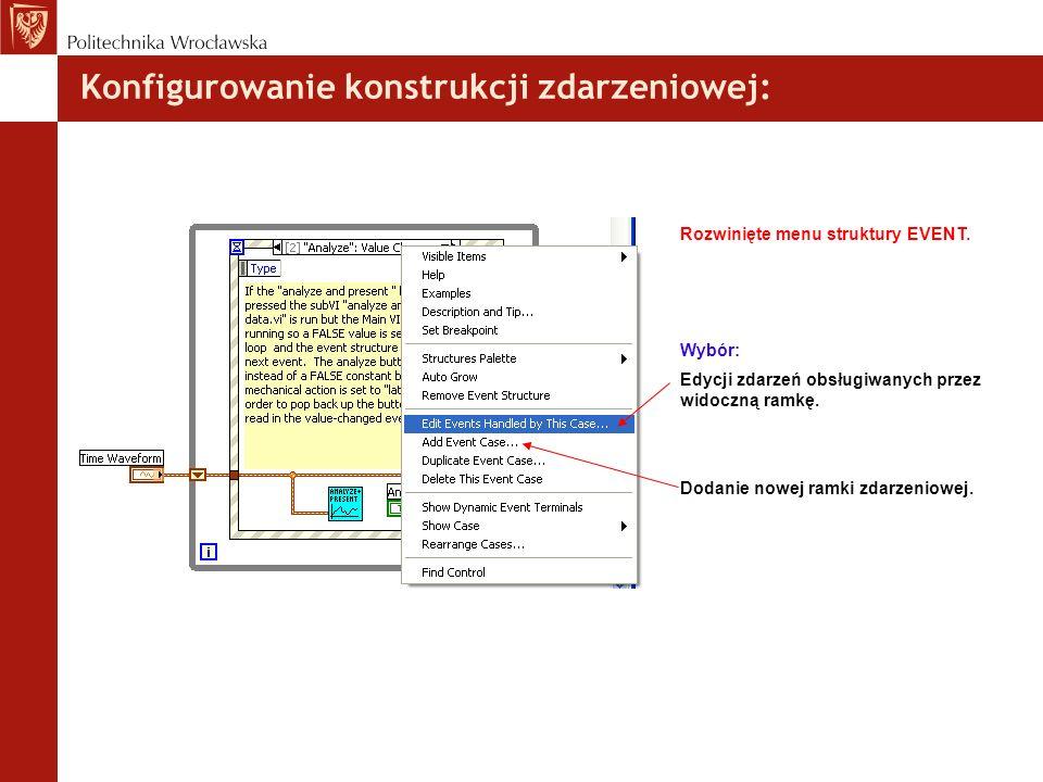 Konfigurowanie konstrukcji zdarzeniowej: