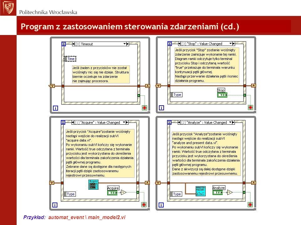 Program z zastosowaniem sterowania zdarzeniami (cd.)