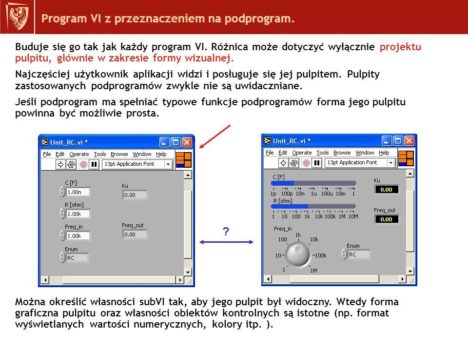 Program VI z przeznaczeniem na podprogram.