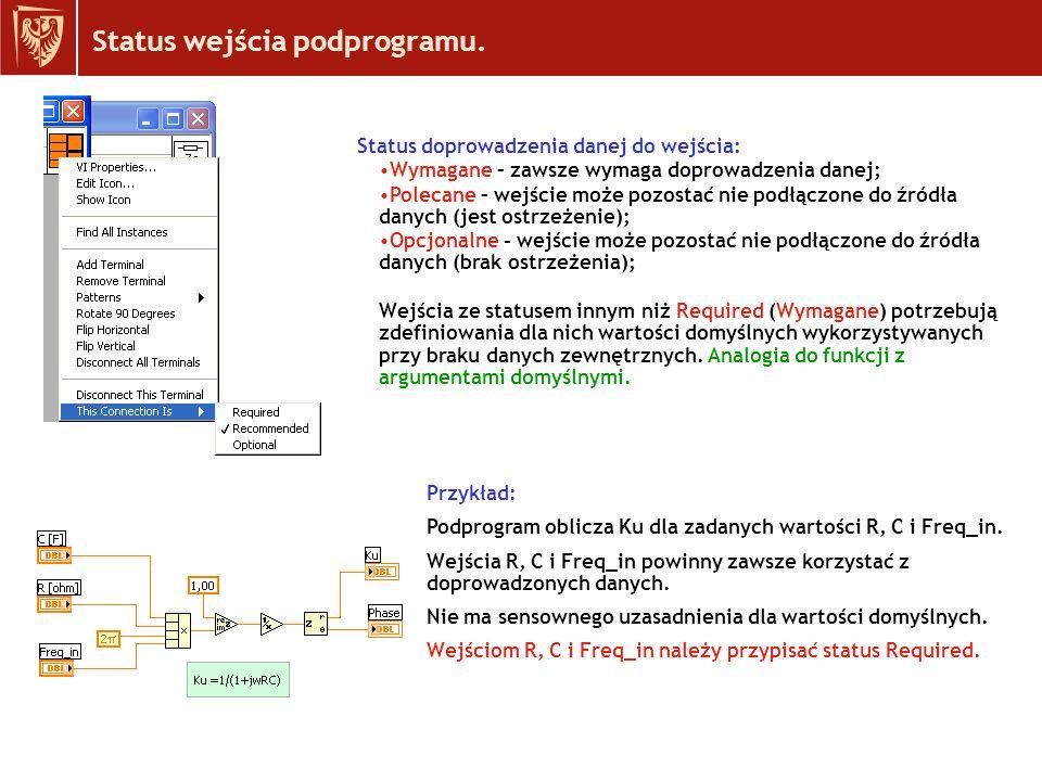 Status wejścia podprogramu.