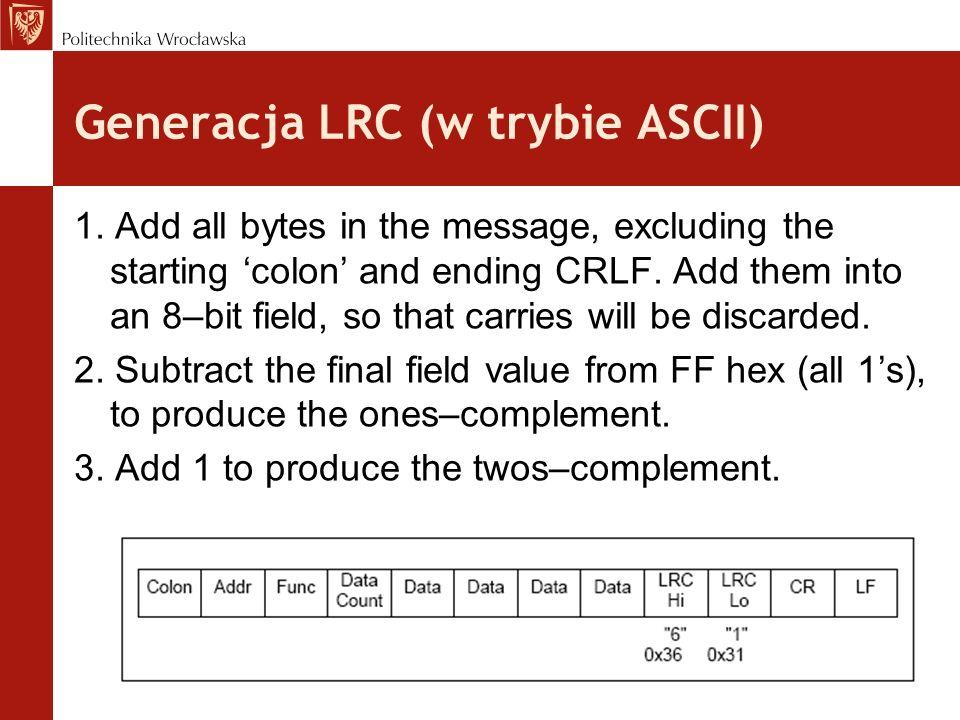 Generacja LRC (w trybie ASCII)