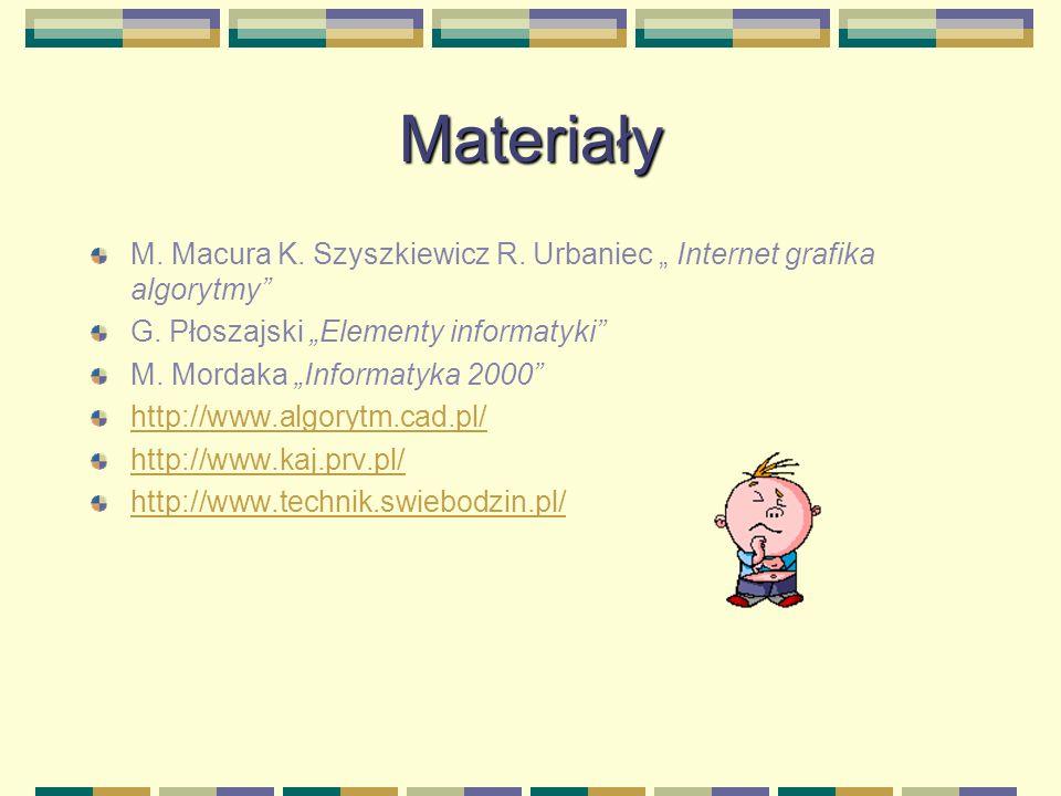 """Materiały M. Macura K. Szyszkiewicz R. Urbaniec """" Internet grafika algorytmy G. Płoszajski """"Elementy informatyki"""