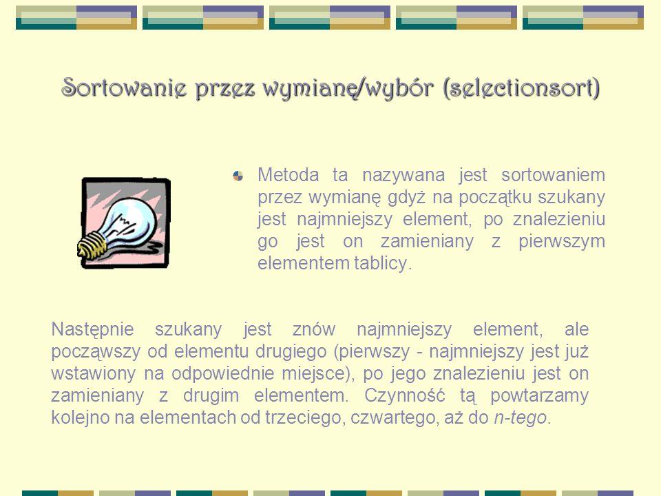 Sortowanie przez wymianę/wybór (selectionsort)