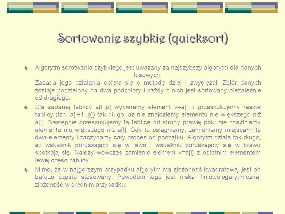 Sortowanie szybkie (quicksort)